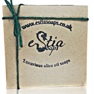 Small kraft gift box with two natural soap bars and a soap dish, handmade in Scotland, UK