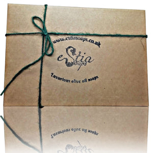 kraft gift box, all natural soap set with luxury olive oil soaps and estia soaps logo, handmade in Scotland, UK