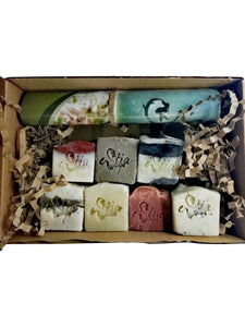 kraft box with seven travel soaps, all natural, olive oil soaps with Estia soaps stamp, Scotland, UK