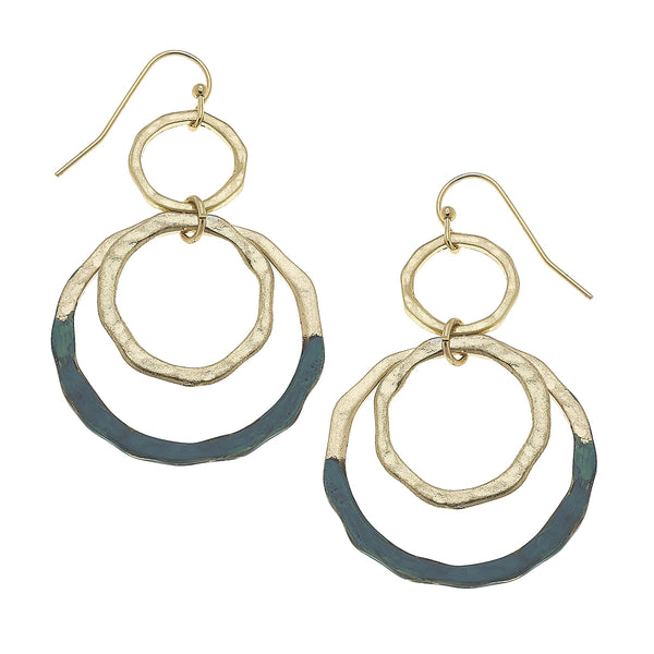 17316E Patina Multi Hoop Drop Earring by Crave