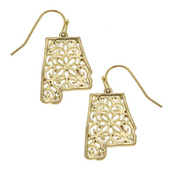 17973E-AL-GD Alabama Filigree State Earring by Crave