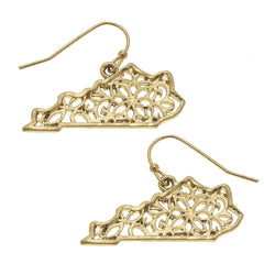Kentucky Filigree State Earring in Worn Gold by Crave
