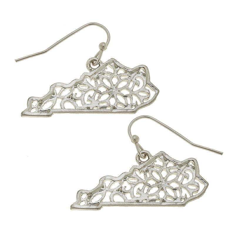 Filigree Kentucky State Earring in Worn Silver by Crave