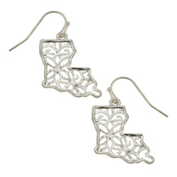 Louisiana Filigree State Earring in Worn Silver by Crave