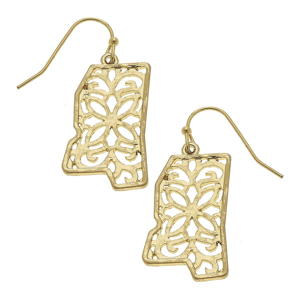 Mississippi Filigree State Earring in Worn Gold by Crave