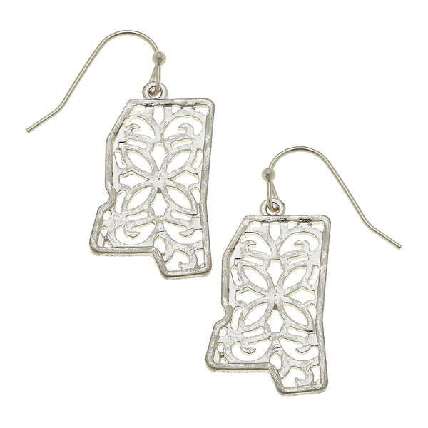 Mississippi Filigree State Earring in Worn Silver by Crave