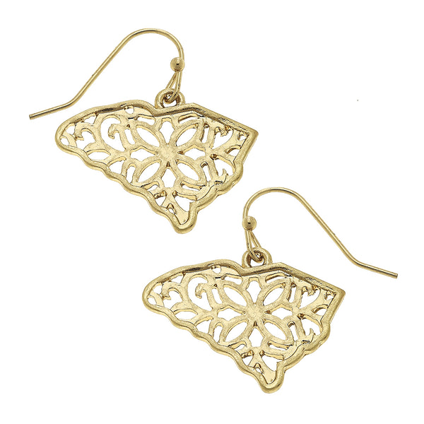 South Carolina Filigree State Earring in Worn Gold by Crave