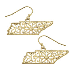Tennessee Filigree State Earring in Worn Gold by Crave