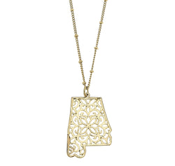 Alabama Filigree State Necklace in Worn Gold by Crave