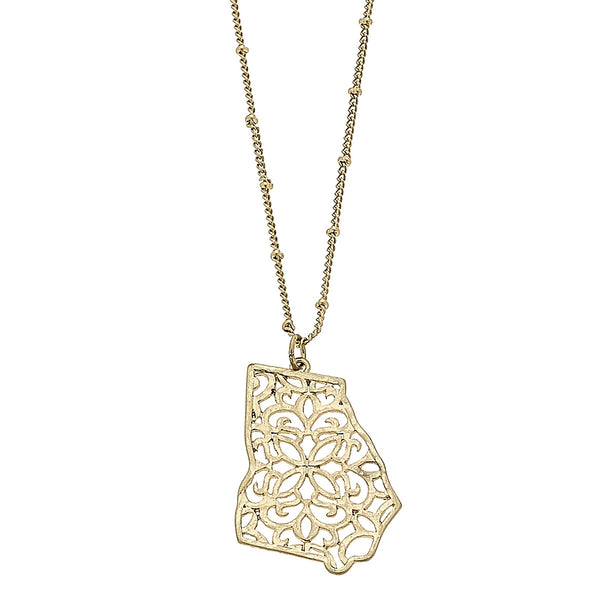 Georgia Filigree State Necklace in Worn Gold by Crave