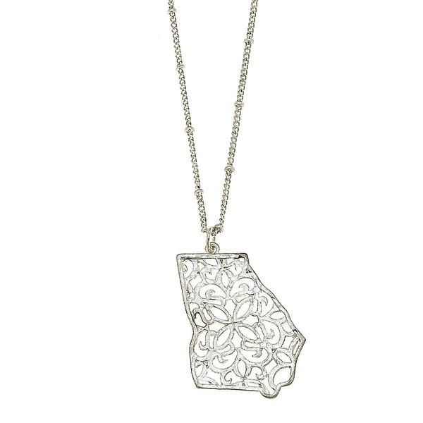 Georgia Filigree State Necklace in Worn Silver by Crave