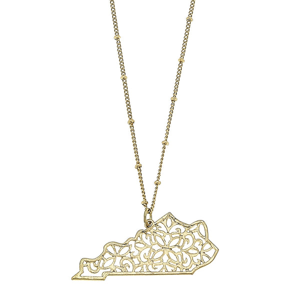 Kentucky Filigree State Necklace in Worn Gold by Crave