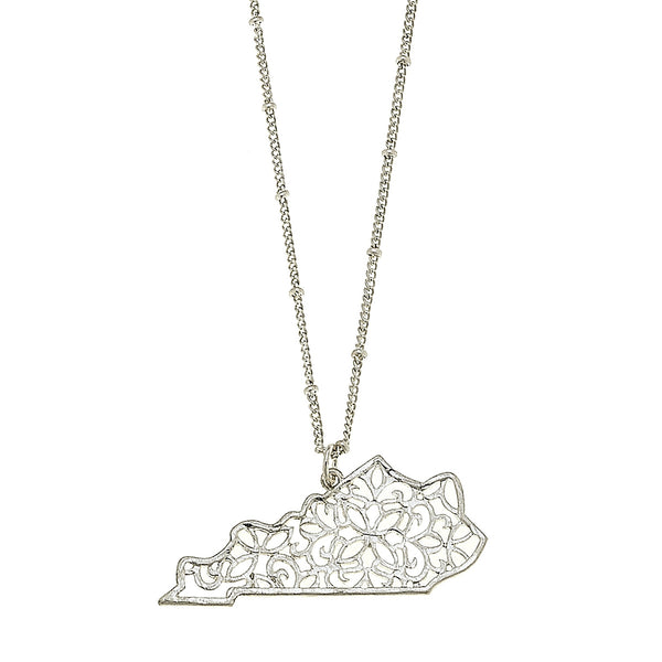 Kentucky Filigree State Necklace in Worn Silver by Crave