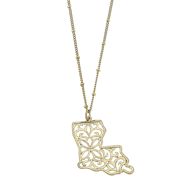 Louisiana Filigree State Necklace in Worn Gold by Crave
