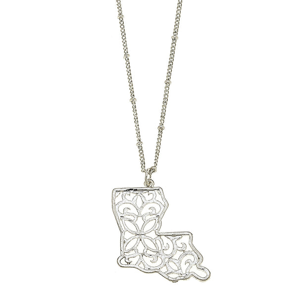 Louisiana Filigree State Necklace in Worn Silver by Crave