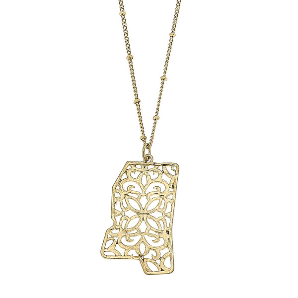 Mississippi Filigree State Necklace in Worn Gold by Crave