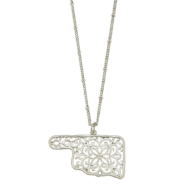 Oklahoma Filigree State Necklace in Worn Silver by Crave
