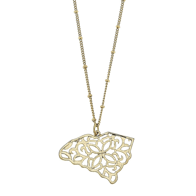 South Carolina Filigree State Necklace in Worn Gold by Crave