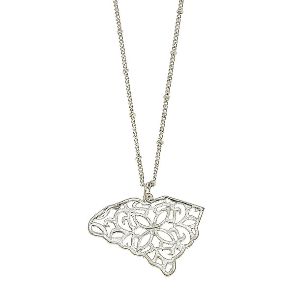 South Carolina Filigree State Necklace in Worn Silver by Crave