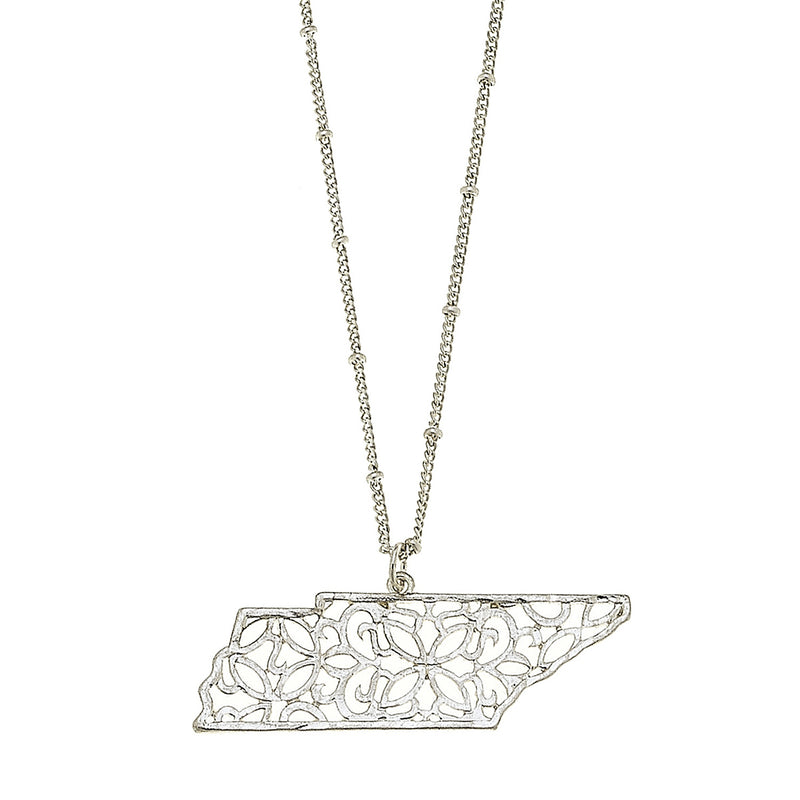 Tennessee Filigree State Necklace in Worn Silver by Crave