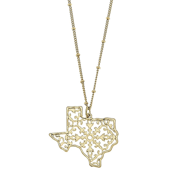 17974N-TX-GD Texas Filigree State Necklace by Crave