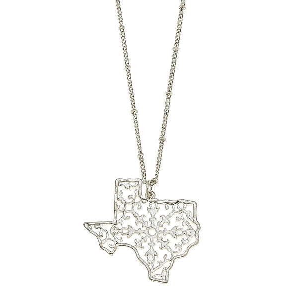 Texas Filigree State Necklace in Worn Silver by Crave