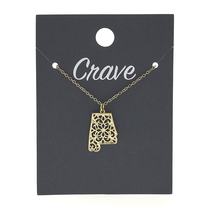 Alabama Delicate Filigree State Necklace in Worn Gold by Crave