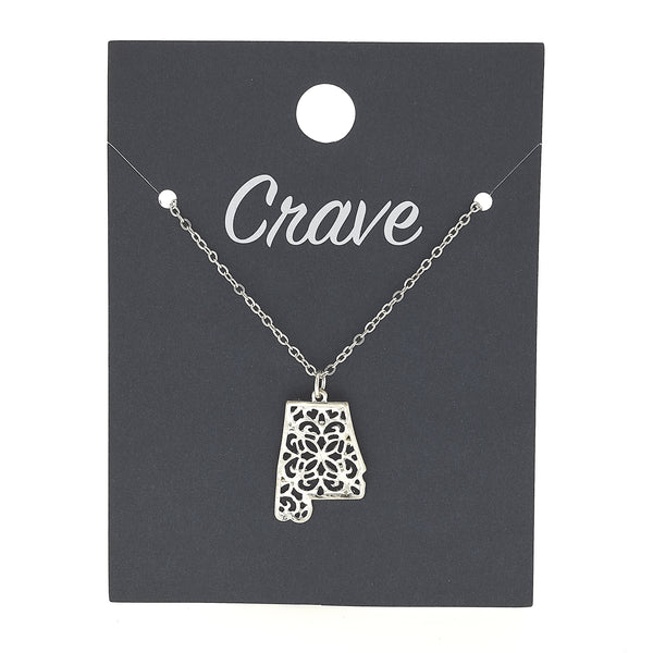 Alabama Delicate Filigree State Necklace in Worn Silver by Crave