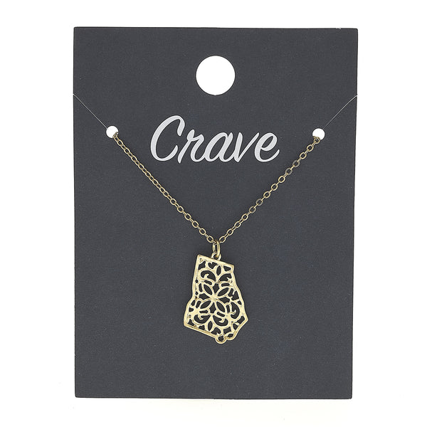 Georgia Delicate Filigree State Necklace in Worn Gold by Crave