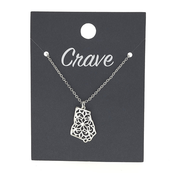 Georgia Delicate Filigree State Necklace in Worn Silver by Crave