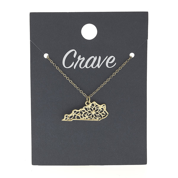 Kentucky Delicate Filigree State Necklace in Worn Gold by Crave