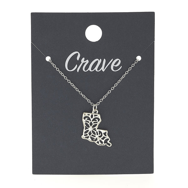 Louisiana Delicate Filigree State Necklace in Worn Silver by Crave