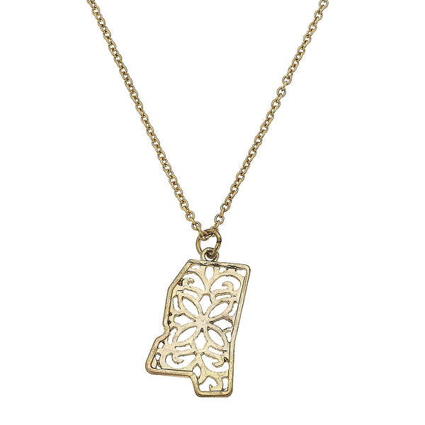 Mississippi Delicate Filigree State Necklace in Worn Gold by Crave