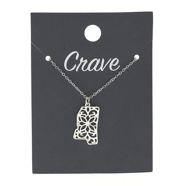 Mississippi Delicate Filigree State Necklace in Worn Silver by Crave