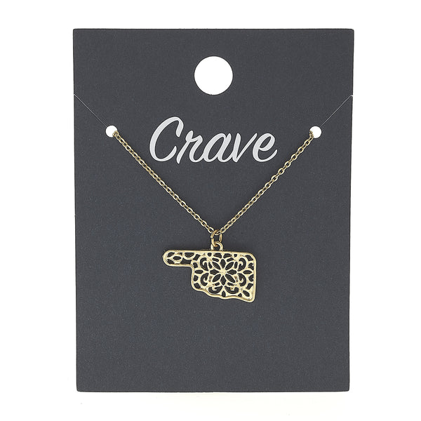 Oklahoma Delicate Filigree State Necklace in Worn Gold by Crave