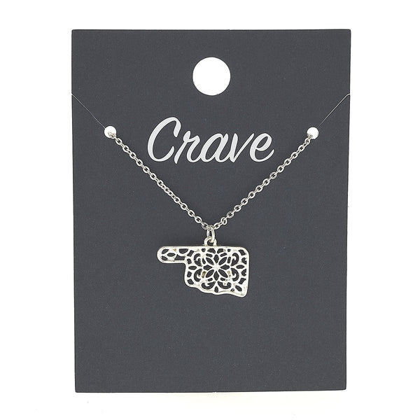 Oklahoma Delicate Filigree State Necklace in Worn Silver by Crave