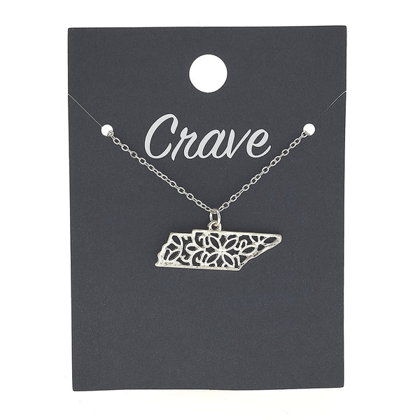 Tennessee Delicate Filigree State Necklace in Worn Gold by Crave