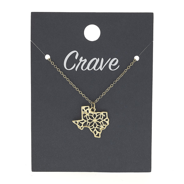 Texas Delicate Filigree State Necklace in Worn Gold by Crave