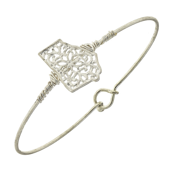 Georgia Filigree State Latch Bracelet in Worn Silver by Crave