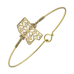 Mississippi Filigree State Latch Bracelet in Worn Gold by Crave