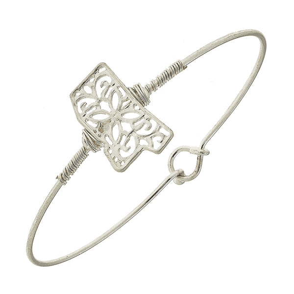 Mississippi Filigree State Latch Bracelet in Worn Silver by Crave