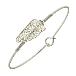 Oklahoma Filigree State Latch Bracelet in Worn Silver by Crave