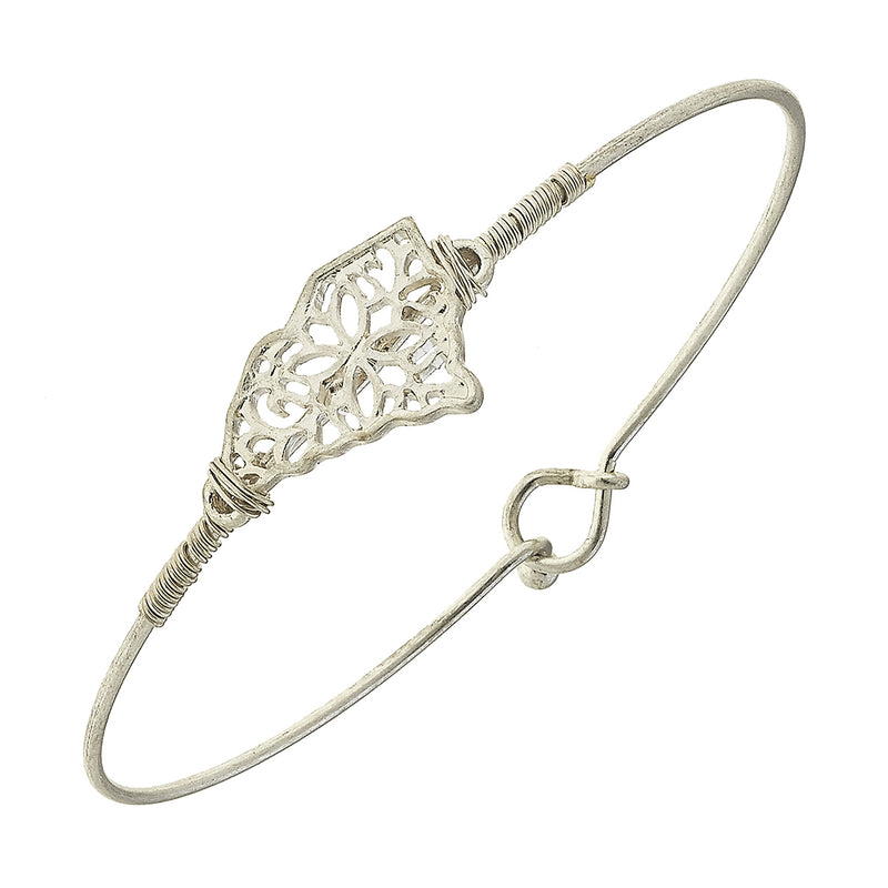 South Carolina Filigree State Latch Bracelet in Worn Silver by Crave