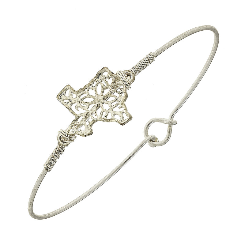 Texas Filigree State Latch Bracelet in Worn Silver by Crave