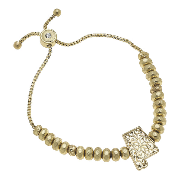 Alabama Filigree State Beaded Bolo Bracelet in Worn Gold by Crave