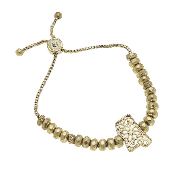 Mississippi Filigree State Beaded Bolo Bracelet in Worn Gold by Crave