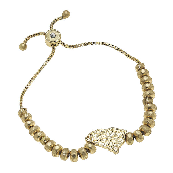South Carolina Filigree State Beaded Bolo Bracelet in Worn Gold by Crave