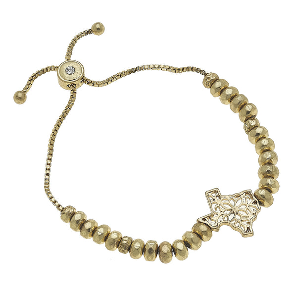 Texas Filigree State Beaded Bolo Bracelet in Worn Gold by Crave