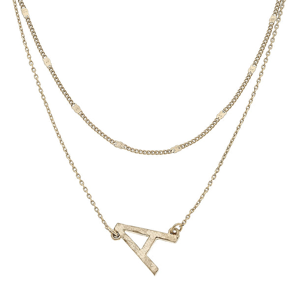 """A"" Short Layered Initial Necklace in Worn Gold by Crave"