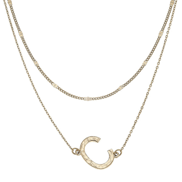 """C"" Short Layered Initial Necklace in Worn Gold by Crave"